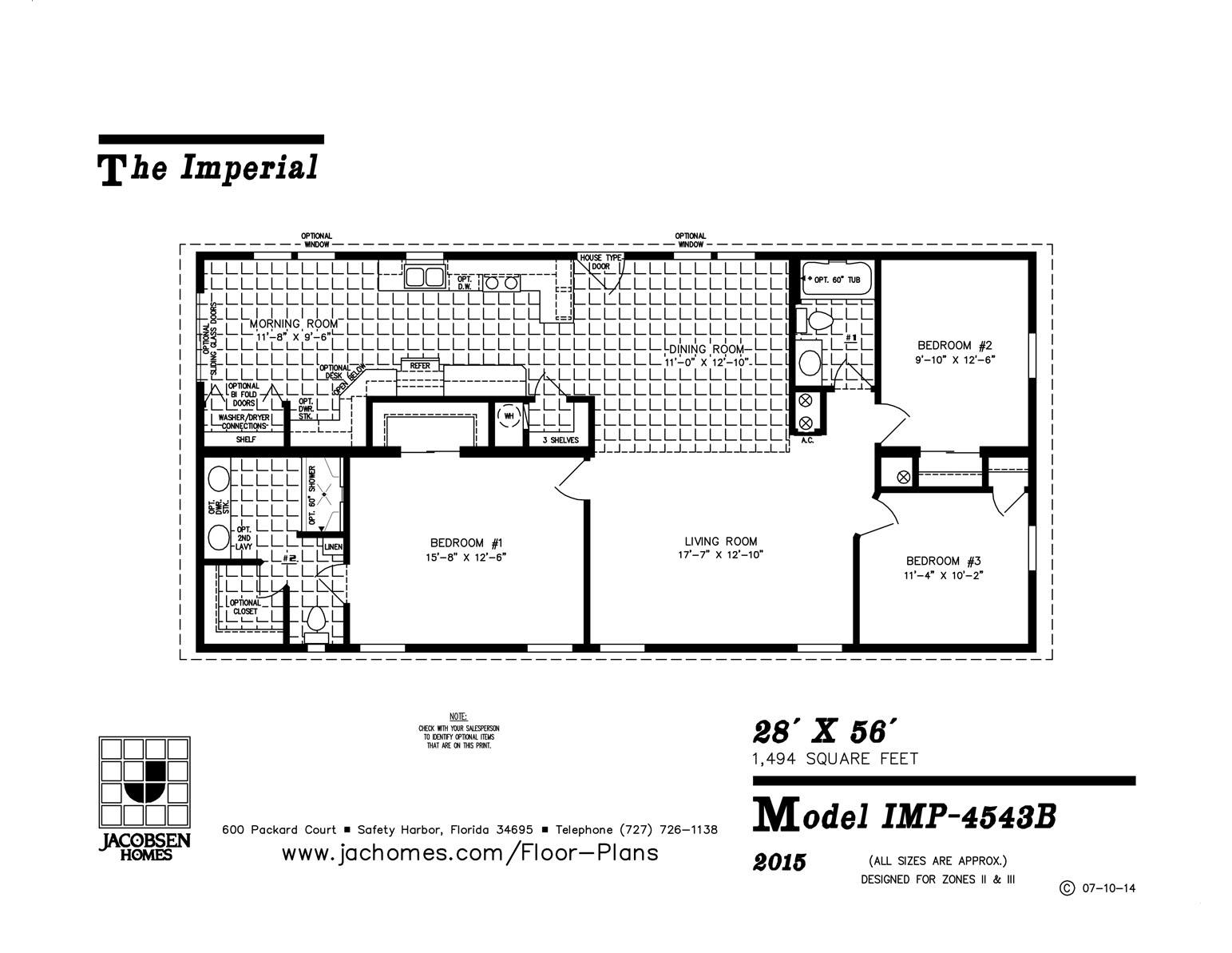 IMP-4543B Mobile Home Floor Plan - Ocala Custom Homes on 28 x 56 mobile home, 24 x 56 mobile home, 16 x 56 mobile home, 28x60 mobile home, 24 x 48 mobile home,