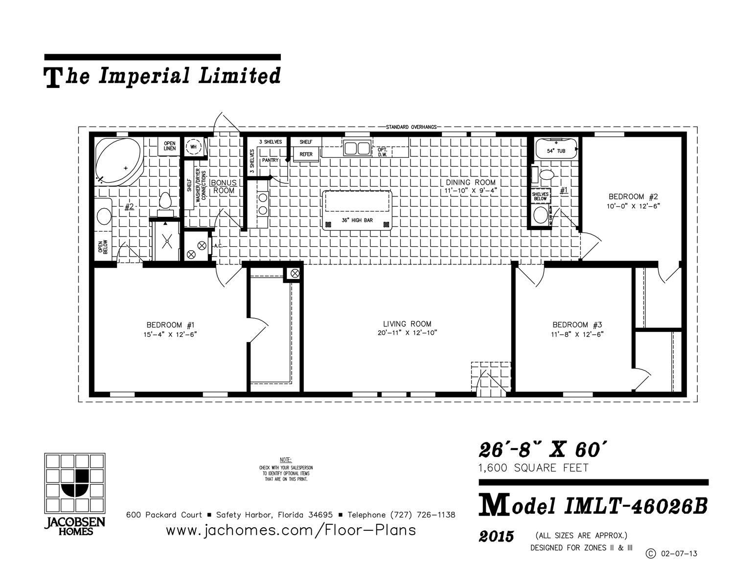 Imlt 46026b mobile home floor plan ocala custom homes for Free mobile home floor plans