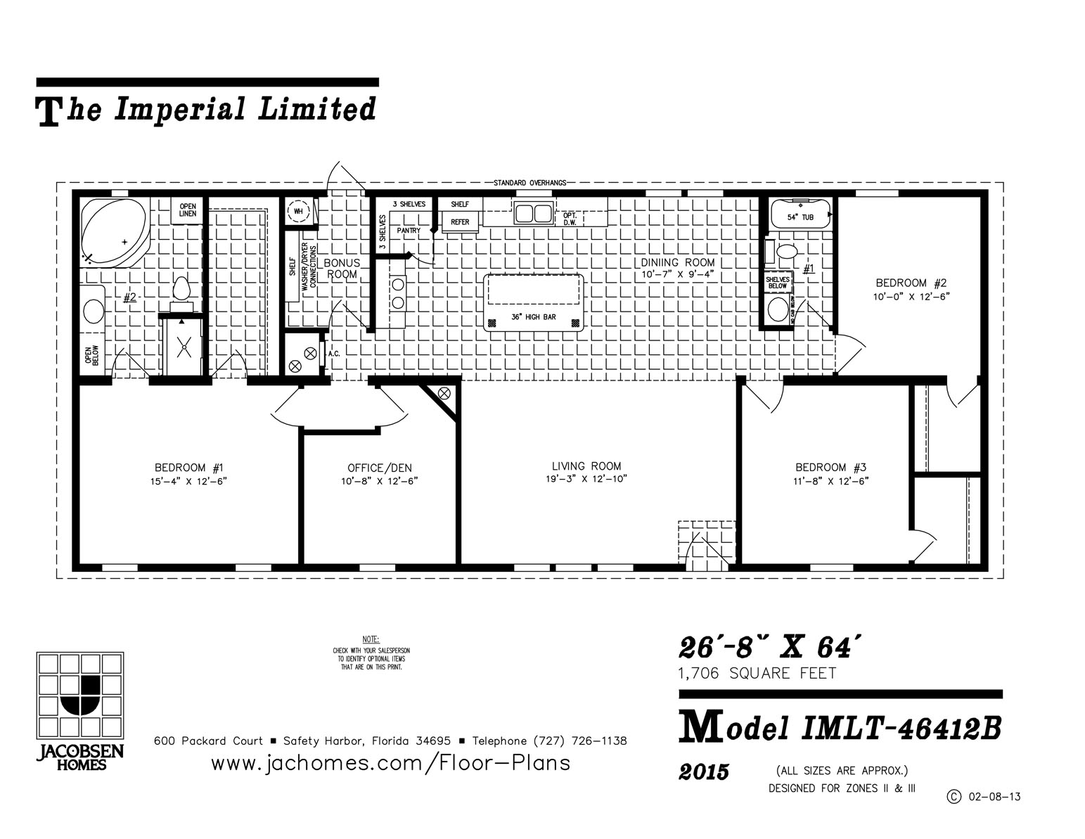 Imlt 46412b mobile home floor plan ocala custom homes for Custom home floor plans