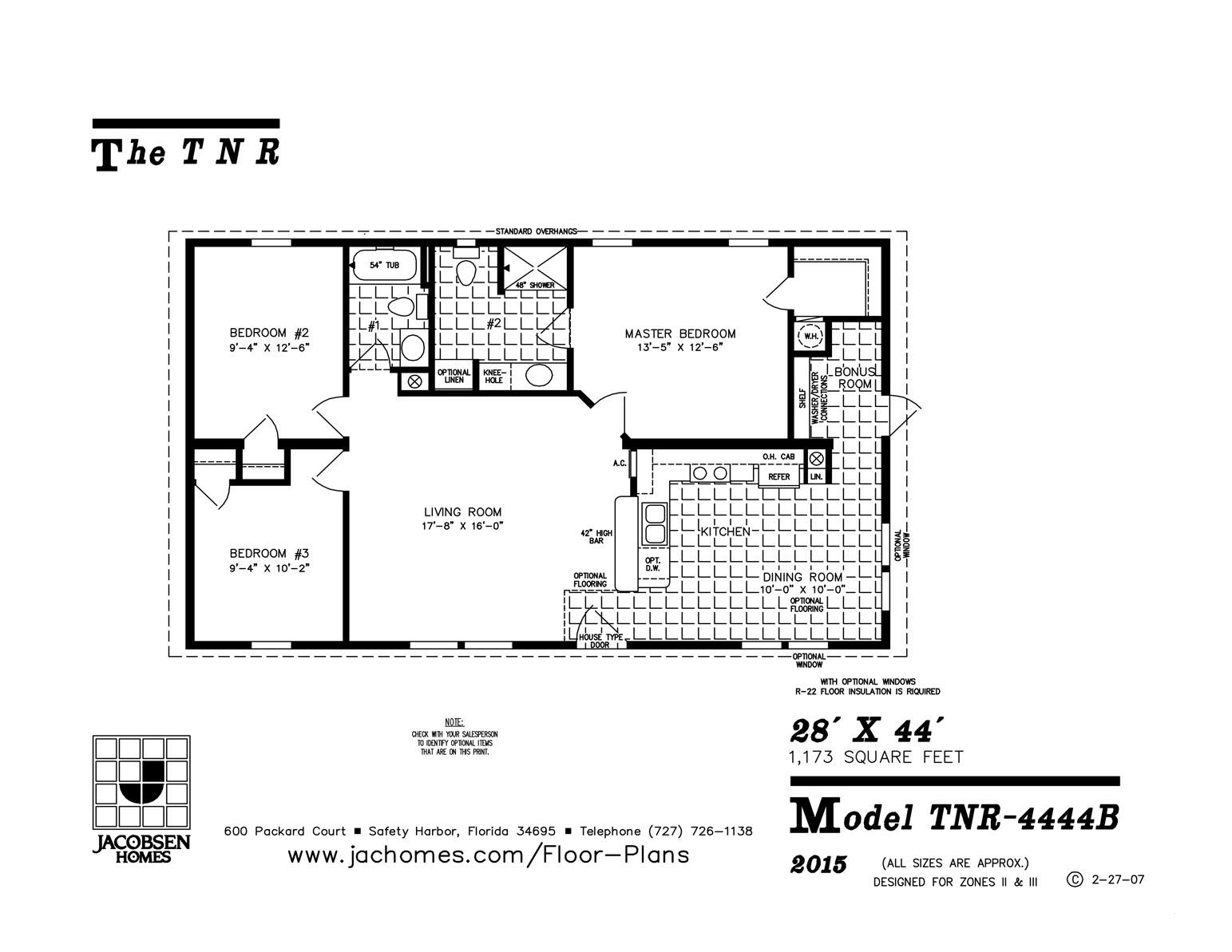 Tnr 4444b Mobile Home Floor Plan Ocala Custom Homes