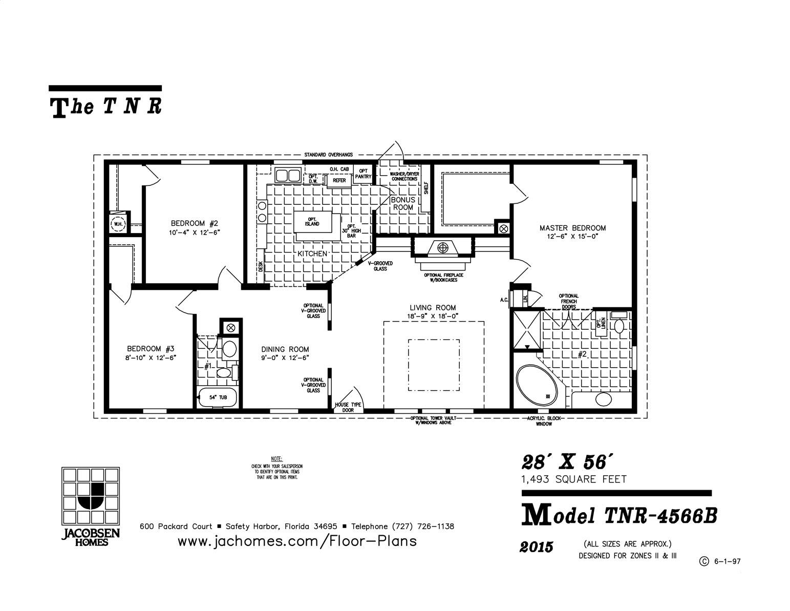 Tnr 4566b Mobile Home Floor Plan Ocala Custom Homes