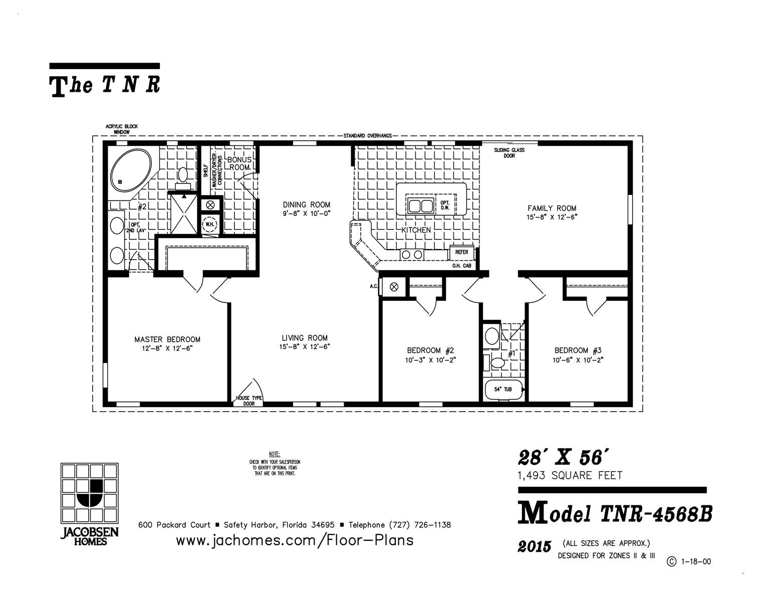 Tnr 4568b mobile home floor plan ocala custom homes for Custom home floor plans free
