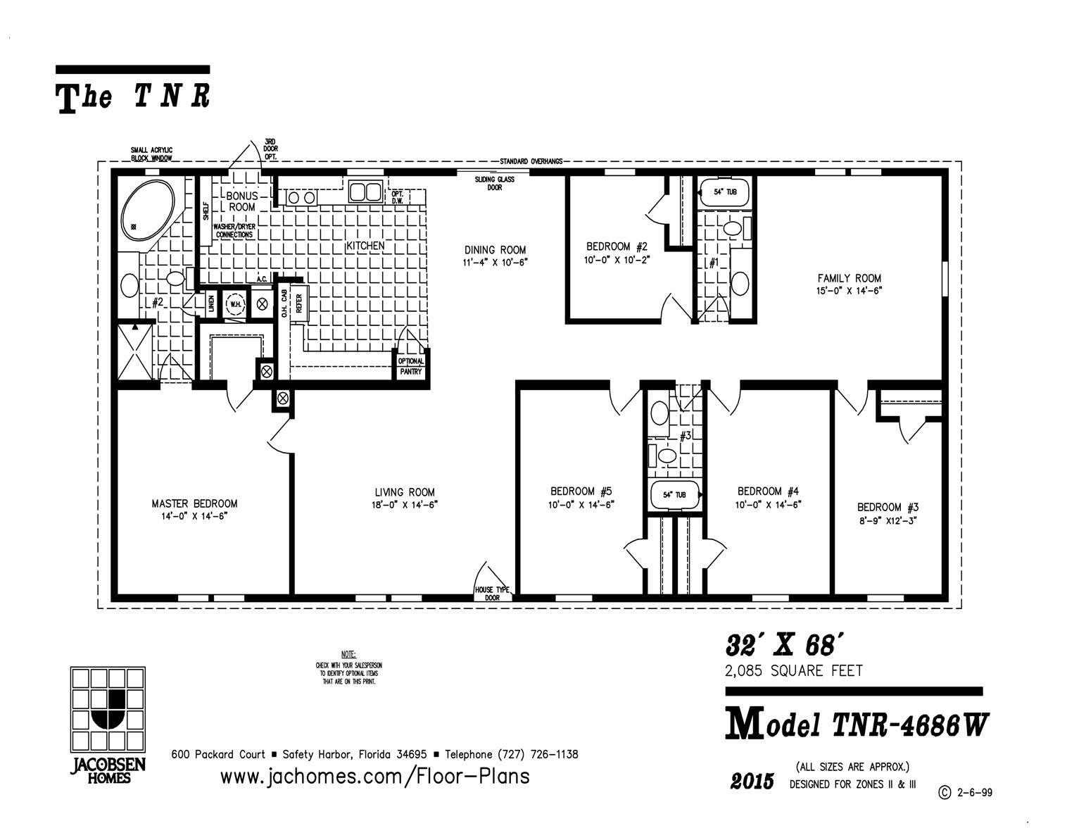 Tnr 4686w mobile home floor plan ocala custom homes for Custom home floor plans free