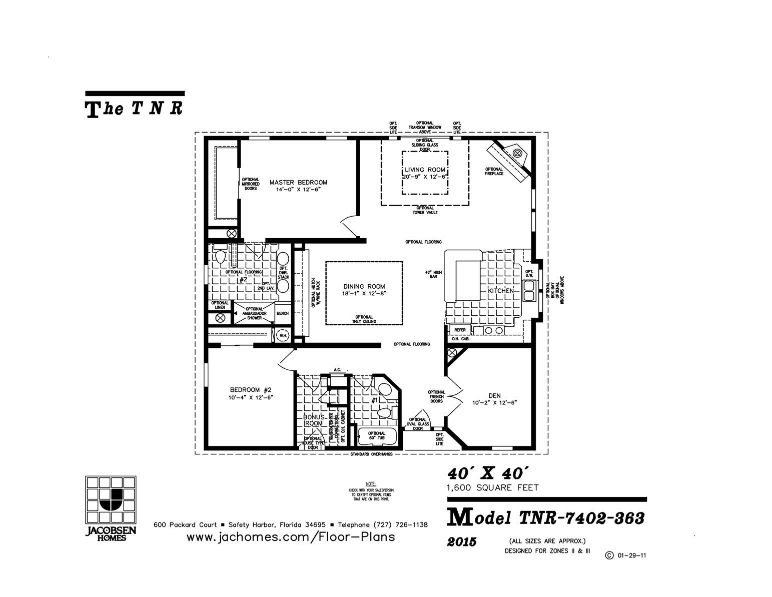 Tnr 7402 363 Mobile Home Floor Plan Ocala Custom Homes