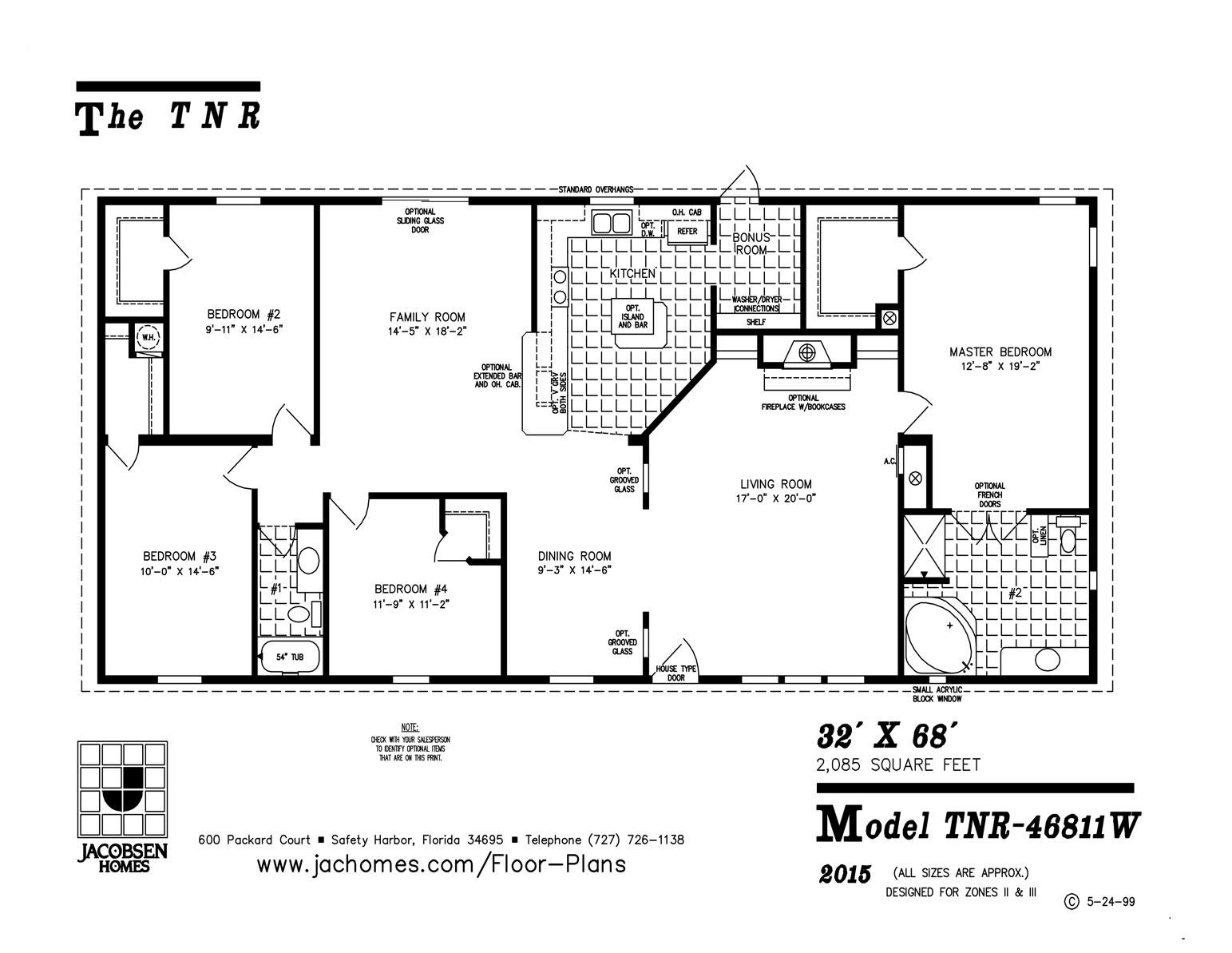 Tnr 46811w mobile home floor plan ocala custom homes for 12x40 mobile home floor plans