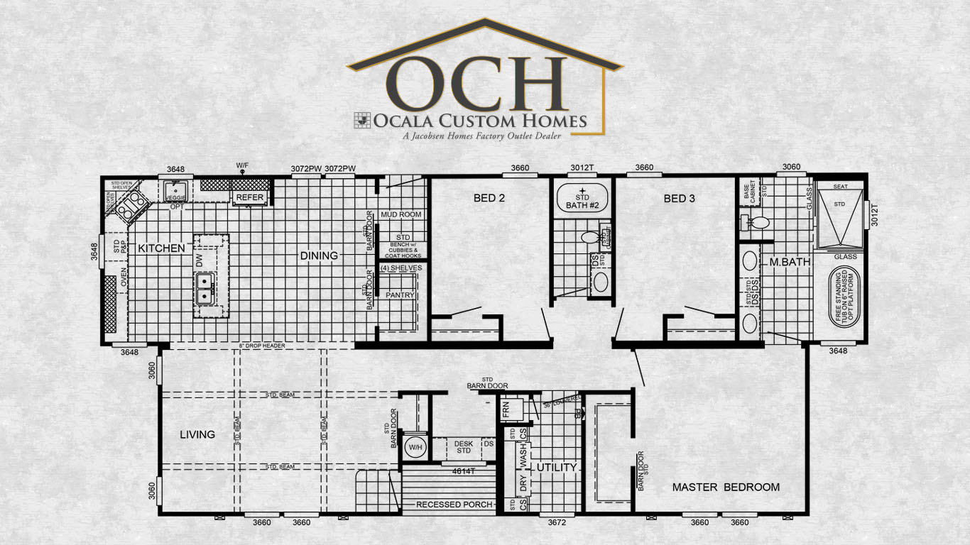Southern estates mobile home floor plans for Custom home floor plans