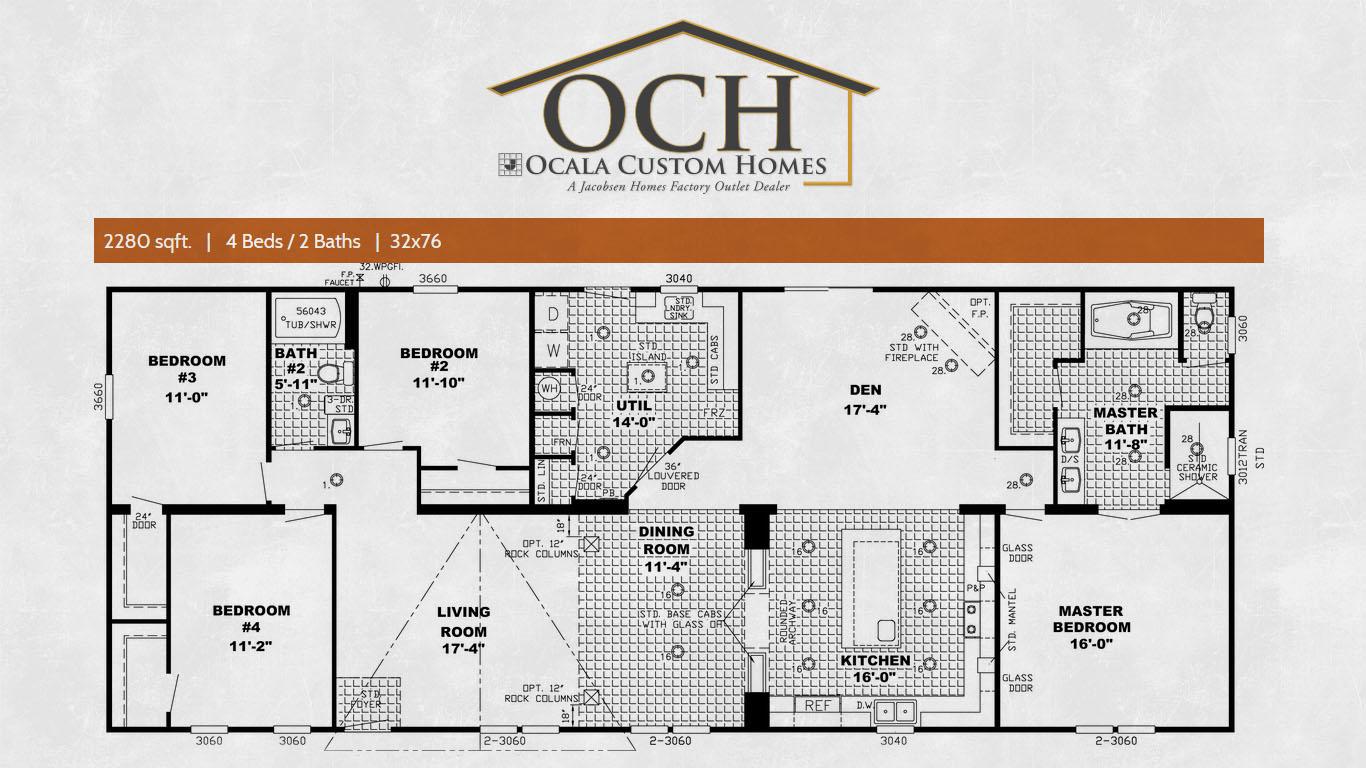 Ocala custom homes floorplans the ponderosa 3 ocala for Custom home floorplans